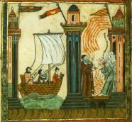 Misión de Ramon Llull a Túnez, diálogos con los musulmanes. Ilustración del Codex St. Peter, 1322