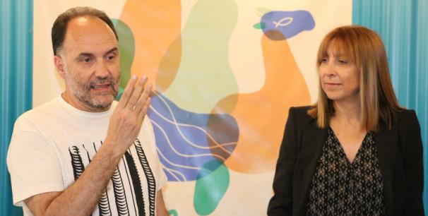 El director de Pirineos Sur, Luis Lles, y la Diputada de Cultura de Huesca, Berta Fernández, en Valencia