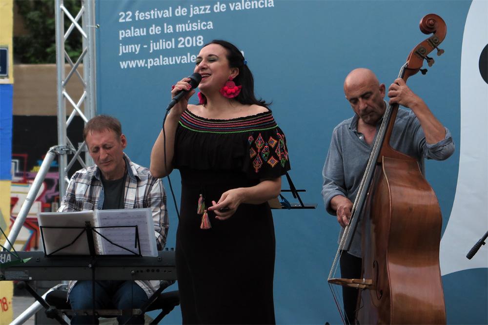 Crisina Blasco Quartet el pasado 3 de junio en la Plaça de Patraix./ (P. V.)
