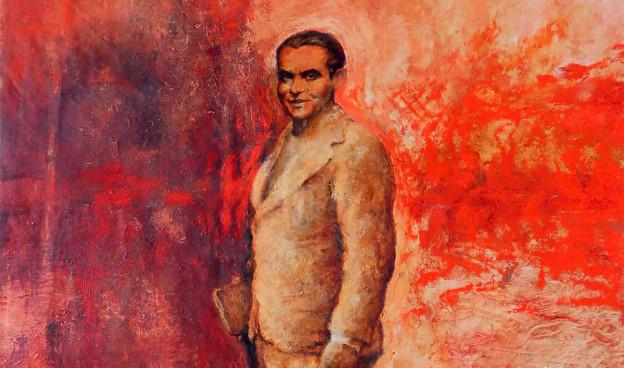 Lorca, detalle de la pintura de Juan Vida conmemorativa del centenario del su nacimiento