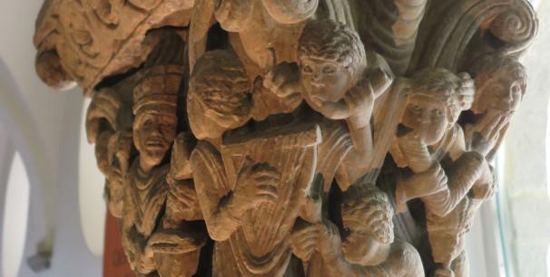 Capitel del siglo XII que representa al rey David y músicos, Museo Catedral de Jaca./ (Paco Valiente)